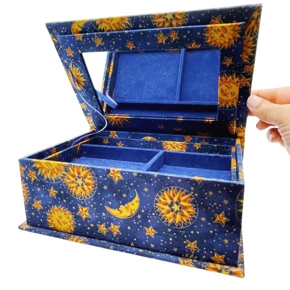 Celestial Fabric Covered Trinket/Jewelry Box